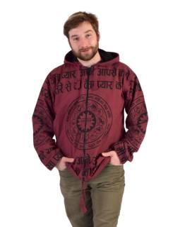 Pánska bunda s kapucňou zapínaná na zips, vínová, potlač