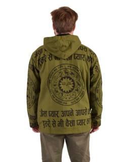 Pánska bunda s kapucňou zapínaná na zips, zelená, potlač
