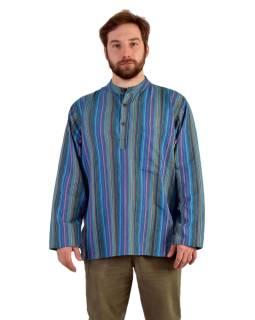 Pruhovaná pánska košeľa-kurta s dlhým rukávom a vreckom, modro-fialová