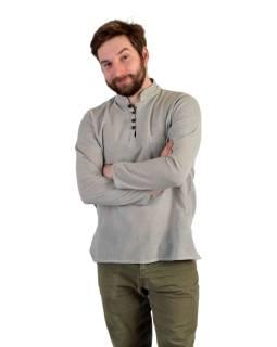 Jednofarebná pánska košeľa-kurta s dlhým rukávom a kapsičkou, sivá