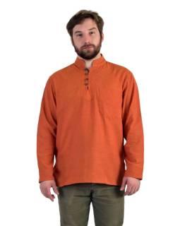 Jednofarebná pánska košeľa-kurta s dlhým rukávom a vreckom, oranžová