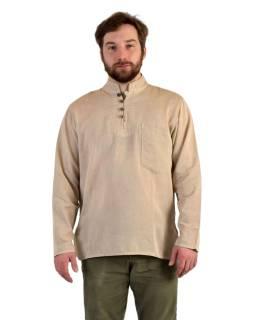 Jednofarebná pánska košeľa-kurta s dlhým rukávom a vreckom, béžová