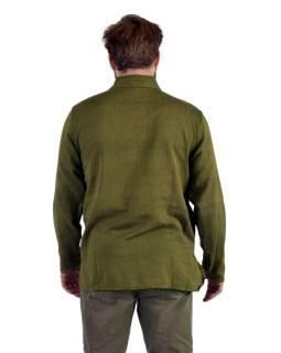 Jednofarebná pánska košeľa-kurta s dlhým rukávom a kapsičkou, khaki