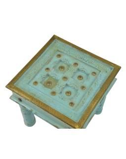 Stolček z mangového dreva, zdobený mosadzným kovaním, so sklom, 43x43x44cm