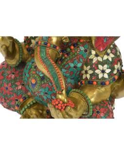 Ganéša, unikátna socha zdobená polodrahokamy, mosadz, 39x22x44cm