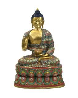 Budha, kovová soška vykladaná polodrahokamami, 60x50x97cm