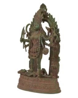 Kálí, kovová socha, zelená patina, 43x20x74cm