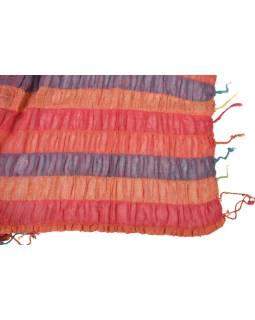 Šatka, wrap prúžky, strapce, bavlna, 65x180cm