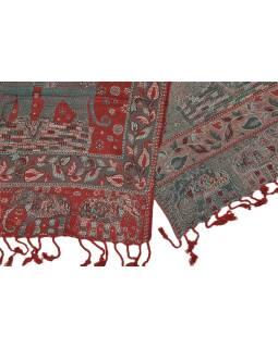 Veľká šál s motívom slonov so strapcami, zeleno červená, 70x180cm