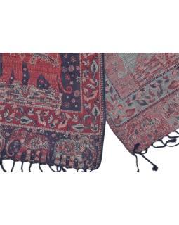 Veľká šál s motívom slonov so strapcami, modro červená, 70x180cm