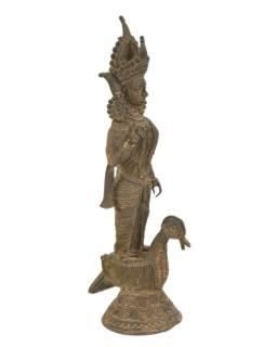 Sarasvatí, Tribal Art, mosadzná socha, 22x16x47cm