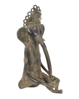 Ganéša hrajúci na bubon, Tribal Art, mosadzná socha, 14x15x29cm