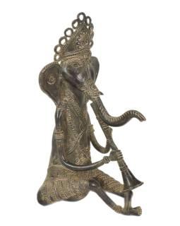 Ganéša hrajúci na klarinet, Tribal Art, mosadzná socha, 14x15x29cm