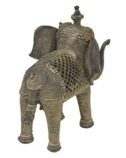 Slon, Tribal Art, mosadzná socha, 14x10x12cm