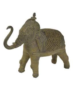 Slon, Tribal Art, mosadzná socha, 15,5x5x14cm