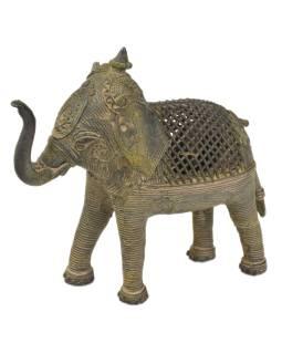 Slon, Tribal Art, mosadzná socha, 18x11x16cm