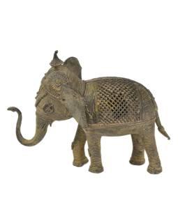Slon, Tribal Art, mosadzná socha, 21x10x17cm