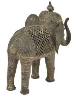 Slon, Tribal Art, mosadzná socha, 20x12x19cm