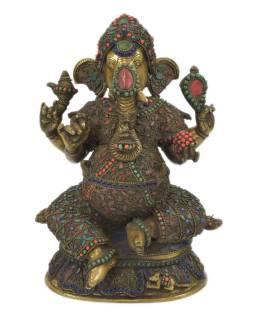 Ganéša, kovová socha vykladaná polodrahokamami, 20x15x30cm
