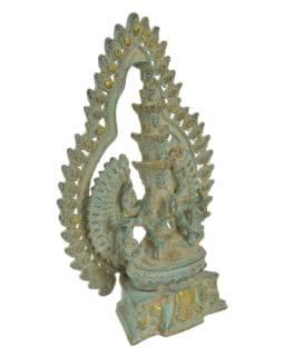 Avalokitéšvara, kovová socha, zelená patina, 18x7x25cm