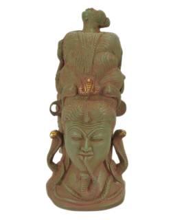 Šiva, kovová socha, zelená patina, 11x11x25cm