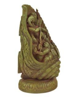 Ganéša v lastúre, kovová socha, zelená patina, 14x10x28cm