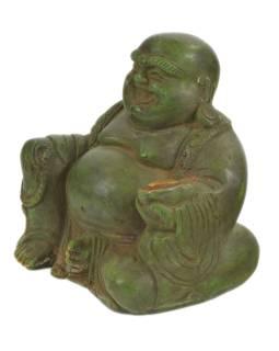 Budha, kovová socha, zelená patina, 12x8x11cm