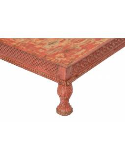Starý stolík, ručne vyrezávané nohy, 92x92x26cm