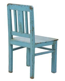 Stará stoličky z teakového dreva, tyrkysová patina, 48x47x92cm