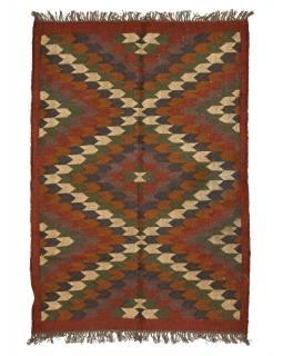 Koberec, ručne tkaný, vlna, juta, 126x180cm