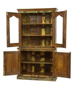 Presklená skriňa z teakového dreva, dvojdielna, 115x44x206cm
