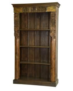 Knižnica z teakového dreva, 122x45x214cm