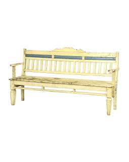 Stará lavička z teakového dreva, biela patina, 180x49x96cm