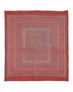 Červený prehoz na posteľ, block print, ručné práce, prešívanie, 226x266 cm