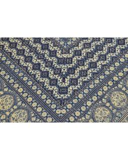Modrý prehoz na posteľ, block print, ručné práce, prešívanie, 226x267 cm