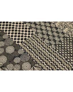 Čierno-biely prehoz na posteľ, block print, ručné práce, prešívanie, 220x271 cm