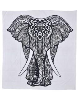 Prikrývka na posteľ s ručným tlačou, slon, 200x228 cm