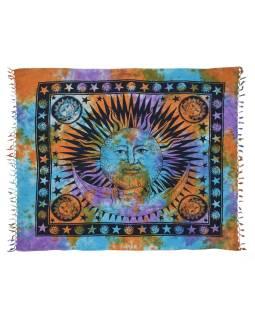 Prikrývka na posteľ s ručným tlačou Slnko & Mesiac, strapce, batika 208x240 cm