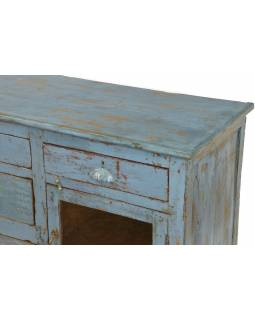 Komoda z teakového dreva, šedo modrá patina, 141x46x75cm