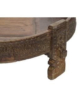 Okrúhly stolík z mangového dreva, 77x77x32cm