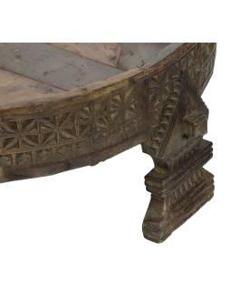 Okrúhly stolík z mangového dreva, 82x82x32cm