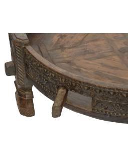 Okrúhly stolík z mangového dreva, 84x84x32cm