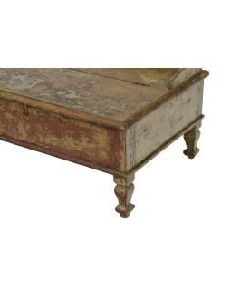 Starý Kupecký stolík z teakového dreva, 80x54x42cm