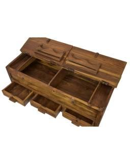 Starý Kupecký stolík z teakového dreva, šuplíky, 123x46x48cm