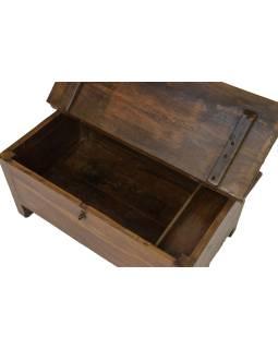 Starý Kupecký stolík z teakového dreva, šuplíky, 76x43x39cm