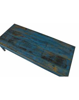 Starý konferenčný stolík, modrá patina, 167x70x43cm