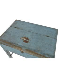 Starý stolík s úložným priestorom, modrá patina, 82x58x85cm
