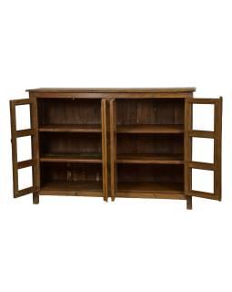 Presklená skrinka z teakového dreva, 152x45x106cm