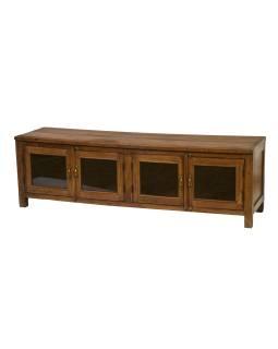 Presklená skrinka z teakového dreva, 163x45x50cm