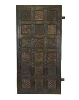 Dvere z Gujarati, vykladané ručnými rezbami, teakové drevo, 92x7x180cm